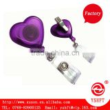 cute heart shape retractable badge reel holder for with alligator clip for kids