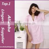Ladies Sleepshirt Summer Sexy Satin Silk Sleep Shirt Women Nightshirts Pink Nighties Sleepwear