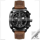 Fashion luxury water resistant 316l stainless steel case japan quartz movt genuine leather band chronograph sport men's watch