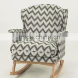 Different color choose home furniture use fabric cover wood armchair/fabric wooden rocking chair(KY-3174)