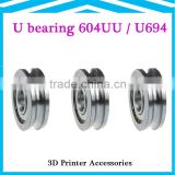 High Quality 604UU/U694 U Groove ball bearings 4x13x4mm guide roller bearings for Reprap prusa i3 3d printer machine diy kit