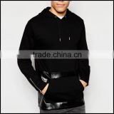 Drawstring Hood Pullover Hoodies Wholesale Faux Leather Panel Pouch Pocket Custom Xxxxl Hoodies                                                                         Quality Choice