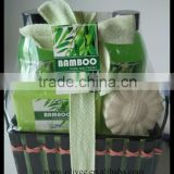 Nice fragrance bath set 170ml shower gel bubble bath and 70ml body lotion 100g soap fizzer with bamboo basket
