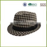 High Quality Gentlemen Wool Cap Felt Available Fedora Check Hats For Temperament With Bowknot Made In China