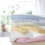 15PKBL04 2016 knitted cable pure cotton baby sleeping throw blanket