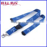 Blue color Personalized Printed Funny Lanyards with Logo, metal clasp, plastic buckle and safety breakaway