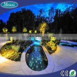 Star landscape light swimming pool with LED light source fiber optic cable and stainless steel end fitting