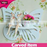 wooden shelf bathroom butterfly shape,Decorative modern display decorative wall decor shelf for sale
