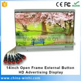 14 inch button control open frame video player mini lcd monitor