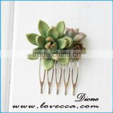 Wedding Bridal Bithday Gifts Small Green Succulent Comb Succulent Jewelry