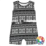 Black And White Aztec Print Kids Summer Jumpsuits Boutique Baby Boy Clothes Clothing Wholesale Price