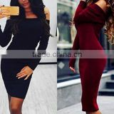 Women Winter Off Shoulder Jumper Sweater Top Mini Slim Bodycon Dress