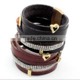 Genuine leather cuff bracelets,girls leather heart bracelet,crystal gift bracelets with magnetic clasp