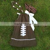 Football dress new design dress for girls clothes 100%cotton cute children's kids clothes with matching necklace and headband
