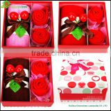 Cake towel promotional gift towel set in gift box Romantic strawberry flower sushi towel cake gift box