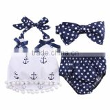 3pcs set cute polka dots baby girls anchor rompers M7031503