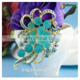 Bailange wholesale bridal crystal rhinestone brooch bridal handmade flower brooch for wedding invitation
