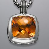 Sterling Silver DY Designs Inspired 17mm Citrine Albion Pendant
