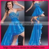 Fashional Sweetheart and Strapless Neckline with Complex Beaded Bodice and at Ease Skirt High Front Low Back Evening Dress
