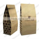 Ziplock stands up kraft paper bags for coffee, Whey protein powder package bag, Square bottom food package bag