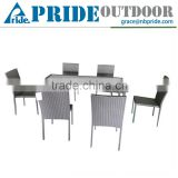 Outdoor Wicker Rattan Glass Dining Table And Chairs Restaurant Furniture Table And Chair In Wicker