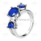 New fashionable in 2015 blue sapphire square lucky stone finger ring
