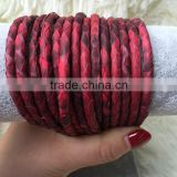 2016 New Design Classic Matt Red Python Skin Leather Snake Skin Leather Cord 4,5,6 mm Size for Metal Clasp Connection Bracelet