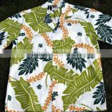 palm tree leaf print hawaiian shirt