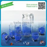 Custom Decal Cheap Glass Caraffes and Cups Hot Sale Glass Tea Set 6in1 Household Effects