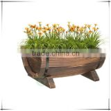 New Garden Wooden Rustic Half Barrel Planter Spring Flowers/Summer Bedding Plant