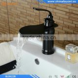 Oil Rubbed Bronze Black Brass Deck Mounted Single Handle Single Hole Bathroom Waterfall Basin Mixer Tap