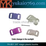 "Yukai 3/8"" plastic bag release buckle with color changing/bag accessories plastic buckle"