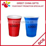 Promotional Double Level Red and White 16oz Disposable Plastic Cup Beverage Cup Bar Decoration