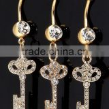 14K Gold Plated Key Belly Rings