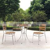 Outdoor using manchurian ash wood table and chair with aluminum frame