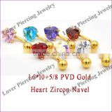 High Polish With Heart Zircon Top Design Stainless Steel Navel Belly Piercing Jewelry [SS-E871]