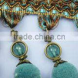 ball polyester trims pompon tassel fringe for curtain ornament