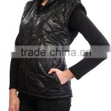 women's hoodie soft shell PU vest with fur lining