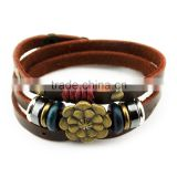 Four-leaf metal clasp bead leather bracelet vintage-style three-ring leather snap bracelet multilayer bracelet