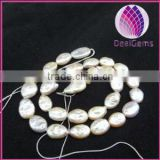 Bead,baroque cultured freshwater pearl ,peach, 17x11mm-18x12mm flat oval, Mohs hardness 2-1/2 to 4. Sold per 15-inch strand.