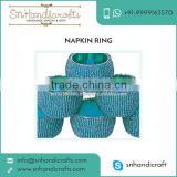 New Quality Product Blue Beaded Diposable Napkin Ring