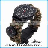 Hiking&camping 480 Paracord survival Waterproof Quartz Watch bracelet with compass thermometer firestarter whistle