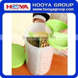 1.5L Round Transparent Plastic Three Portion Cereal Storage Container Dry Food Container Airtight Flip Top Food Saver Containers