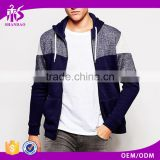 2016 guangzhou shandao autumn mens fashion dark blue CVC polyester cotton blend zip up hoodie with different colored sleeve