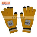 Promotional woven patch logo touch screen gloves