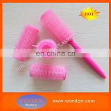 hook and loop hair roller with handle