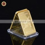 WR Wholesale 999 Real Gold Bar Deutsche 1 Oz Iron Metal Bar 24k Gold Bar with case for Collection Gifts.