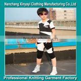2015 boy Sports Wear Plain T-Shirt and Sport strip Pants / Wholesale Clothing Made in China Jiangxi