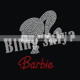 Crystal bling custom afro girl head potrait rhinestone transfer wholesale with Barbie letter