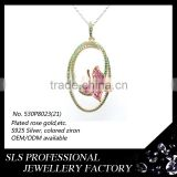 Wholesale linked hammered infinity pendant silver double circle pendant necklace jewelry ruby butterfly pendant